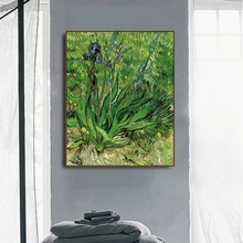 Iris flowers by Vincent Von Gogh Poster Print Canvas Painting Calligraphy Home Decor Wall Art Pictures for Living Room Bedroom