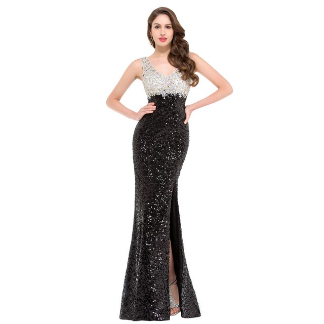 Sparkle High Quality Black Sequins Evening Dress Double V neck Split  Beading Formal Evening Gown Luxury Party Dress GK000022 b37299463b9c