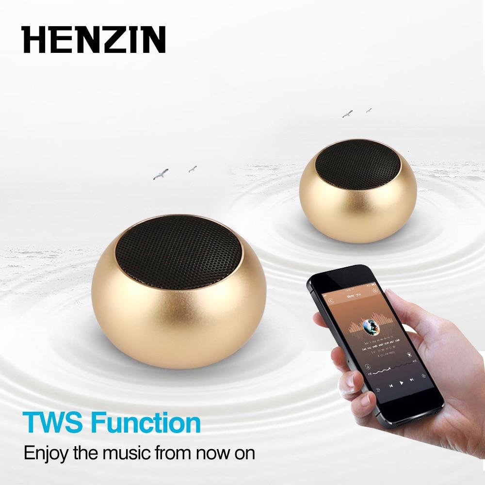 HENZIN Metal mini Bluetooth Speaker TWS 3D Stereo with Mic Wireless BT 4.2 Column Speakers For iPhone Xiaomi Portable Sound Box xiaomi mini bluetooth speaker full metal case with mic