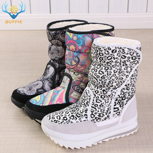 Image 3 - White leopard female boots winter snowboot nice looking plus big size plush warm fur Rubber with EVA outsole high quality women