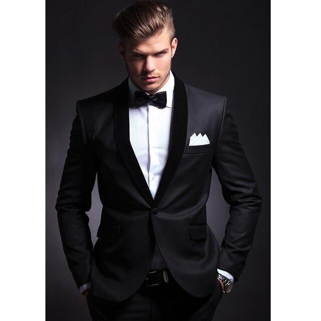 Custom Made Black Slim Fit Men Groom Suit Tuxedos Formal Groomsmen Wedding Suits