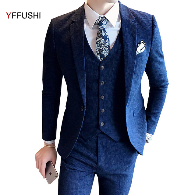 5487076dbe3 YFFUSHI 2018 New Fashion Men Suit Navy Grey Suits Business Casual Tuxedo Best  Men s Blazer Wedding Suits For Men