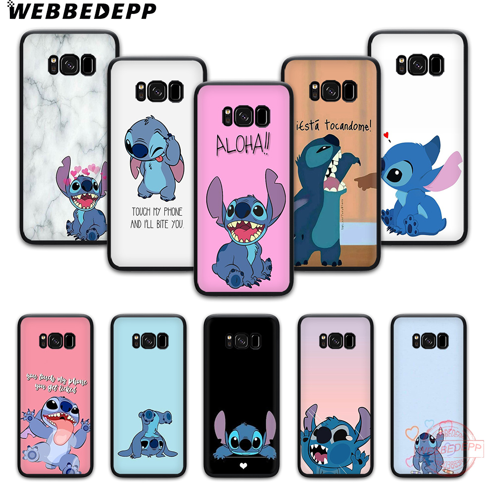 WEBBEDEPP disney cute stitch background TPU phone case for samsung s6 s7 edge s8 s9 s10 plus s10e note8 9 note 10 Plus