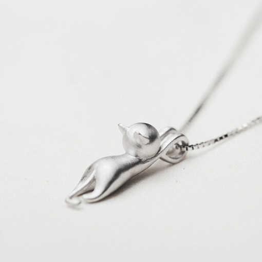مجوهرات حيوانات ظريفة للبنات ظريفة عالية الجودة على شكل قط من الفضة الإسترليني عيار 925 قلادات للنساء قلادة على شكل عقد
