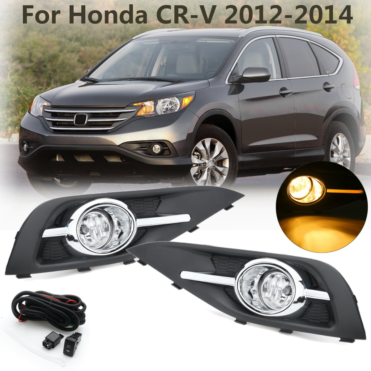 Fog Light 12V 55W 1Pair Front Left Right Bumper Fog Light Lamp Grilles w/ Harness Bulb Replacement for Honda CRV 2012~2014Fog Light 12V 55W 1Pair Front Left Right Bumper Fog Light Lamp Grilles w/ Harness Bulb Replacement for Honda CRV 2012~2014