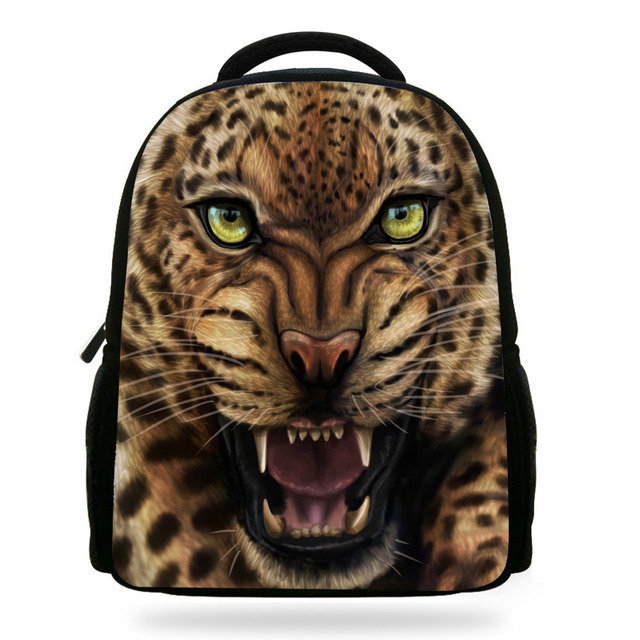 14inch Mochila Zoo Animals Backpack Girls Schoolbag For Kids Cool Leopard  Backpack For Boys Rucksack Child