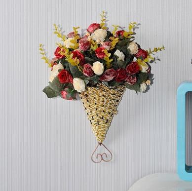 A02 Home Decoration Artificial Plant Fan Hanging Wall Basket Flower Set Floral Silk Artificial Plastic Flowers Decorating