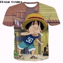PLstar Cosmos Cute Kid Luffy t shirts Anime One Piece 3D print t shirt Men Women Harajuku t shirts Summer Street Hip Hop tops