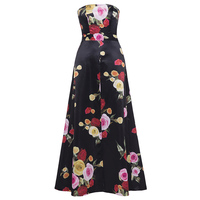 Kinikiss Women Floral Print Maxi Dress Black Sleeveless Strapless High Split Holiday Dresses Lady Sexy Beach