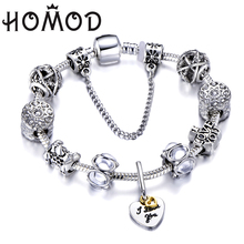 HOMOD Women Bracelet 925 Vintage Silver Crystal Charm Bracelet for Women Love Heart Pendant Brand Bracelets Jewelry Gift european american style ancient silver football sports charm pendant infinity love weaving bracelet women jewelry holiday gift