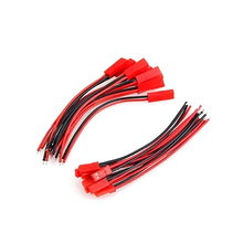 100Pcs Male/Female/Complete 10cm Single JST Header AWG24 Red Black Wire Cable