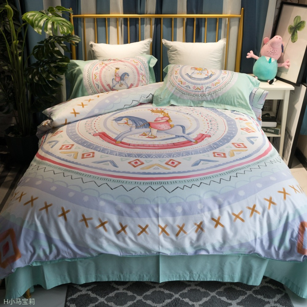 Trojan horse princess cartoon bedding set single size 100% cotton prince and Princess bed cover for kids girls boys 4pcs 5z (32)