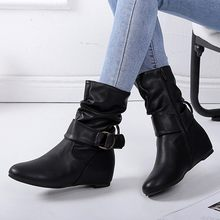 Winter boots shoes women Increase Within Boot Side Zipper Slouchy Boot Casual Hook-Loop Boots zapatos de mujer #20181010(China)