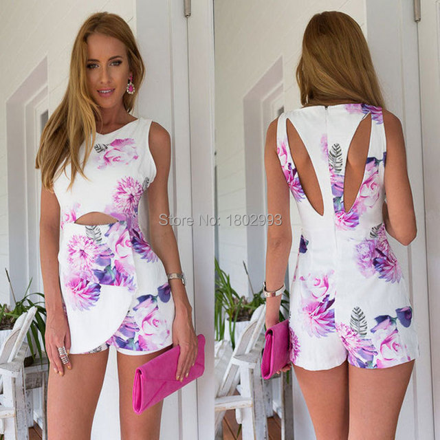 683177b329b popular design elegant ladies short jumpsuits hot sale beautiful flower  printed rompers sexy hollow out women summer jumpsuits