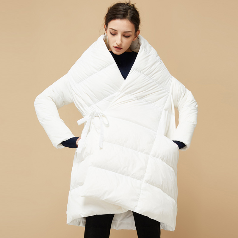 YNZZU Brand Winter New Design Women   Down   Jacket Chic Clock A-Line Style Loose 90% White Duck   Down     Coat   Thick Warm Outwears AO636