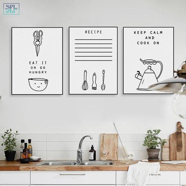 Frameless Modern Cartoon Chefs Canvas Prints Restaurant: SPLSPL Black White Kawaii Cooking Quotes Poster Nordic