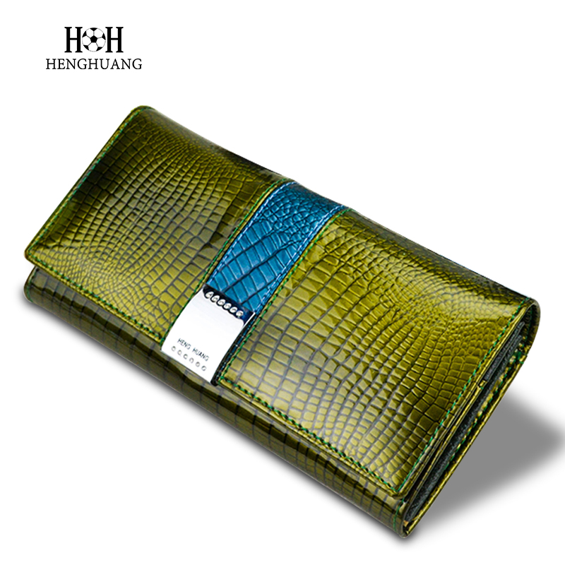 HH Womens Wallets and Purses Genuine Leather Long Alligator Coin Card Colder Clutch Purse Female Luxury New Cow Leather Wallet top cow genuine leather short wallet women wallets and woman purses fashion coin clutch bag purse card holder