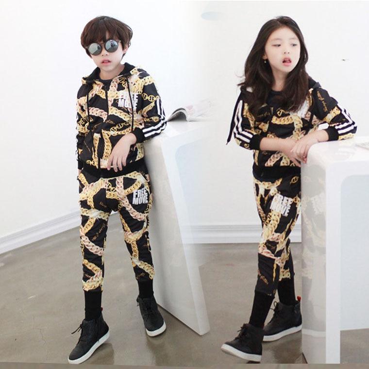 ФОТО 2016 zipper Print Boys & Girls black Clothing Set Spring New Kids Sports Suit Long Sleeve Top & Harem Pants Sets With a hoodie