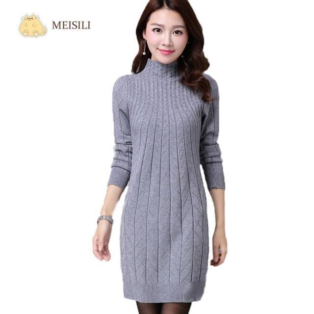 ad3352104e746 2016 Otoño Invierno Mujeres Vestidos de Suéter de Manga Larga de Punto  Vestido de Suéter de