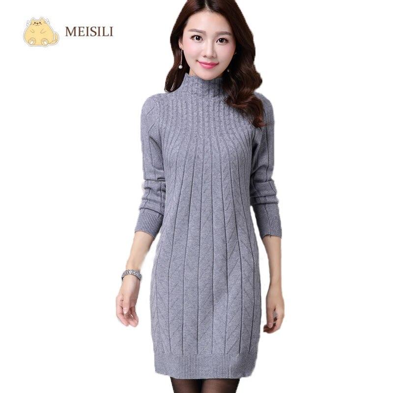 8e10cb070f39 Mulheres de Outono inverno Vestidos de Camisola de Manga Comprida Camisola  De Malha De Lã Vestido ...