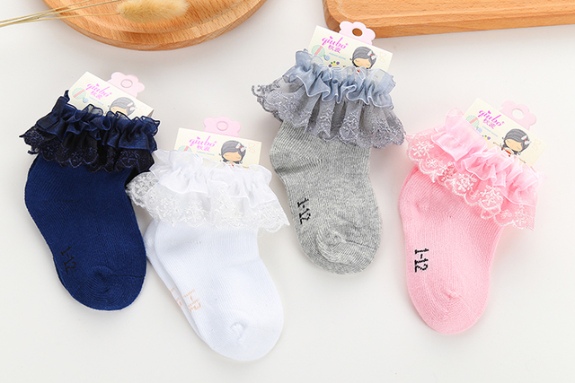 Cute Cotton Socks for Baby Girls with Ruffled Decorations