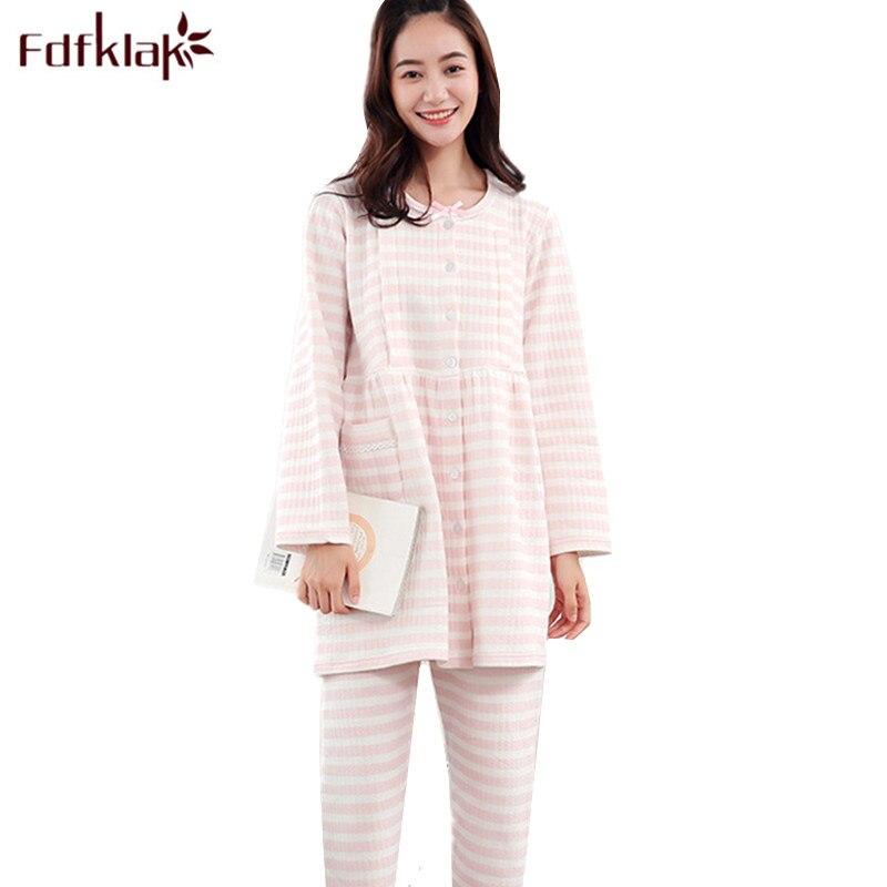 Fdfklak High-grade New Pajamas for Pregnant Women Long Sleeve Cotton Maternity Clothes Spring Autumn Nursing Pijama Pajama Set