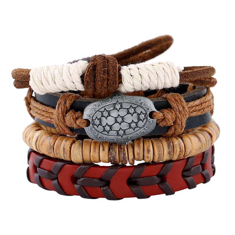 England Style Fashion Embossed Charm Bangles 4pcs/set DIY Jewelry Accessories Braided Woven Beaded Leather Bracelets Wristband