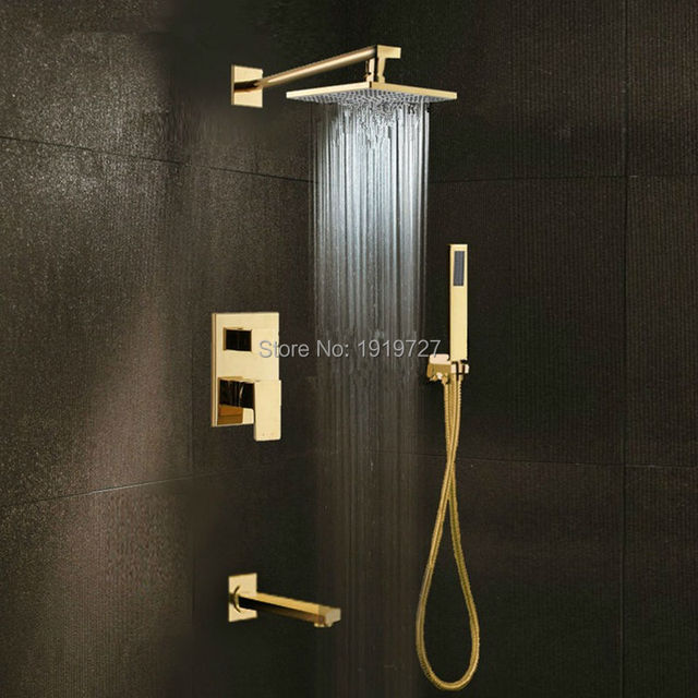 Gold Brass Rainfall Shower Head Widespread Waterfall Tub Mixer Tap Bathroom Bath Faucet Set Wall