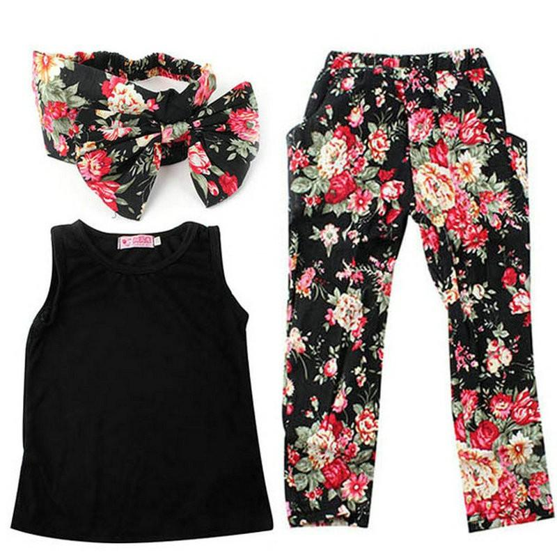 2018 Summer Girls Fashion 3PCS Floral headband Sleeveless Top + Pant Casual Outfit Children Clothing Set plain headband 3pcs