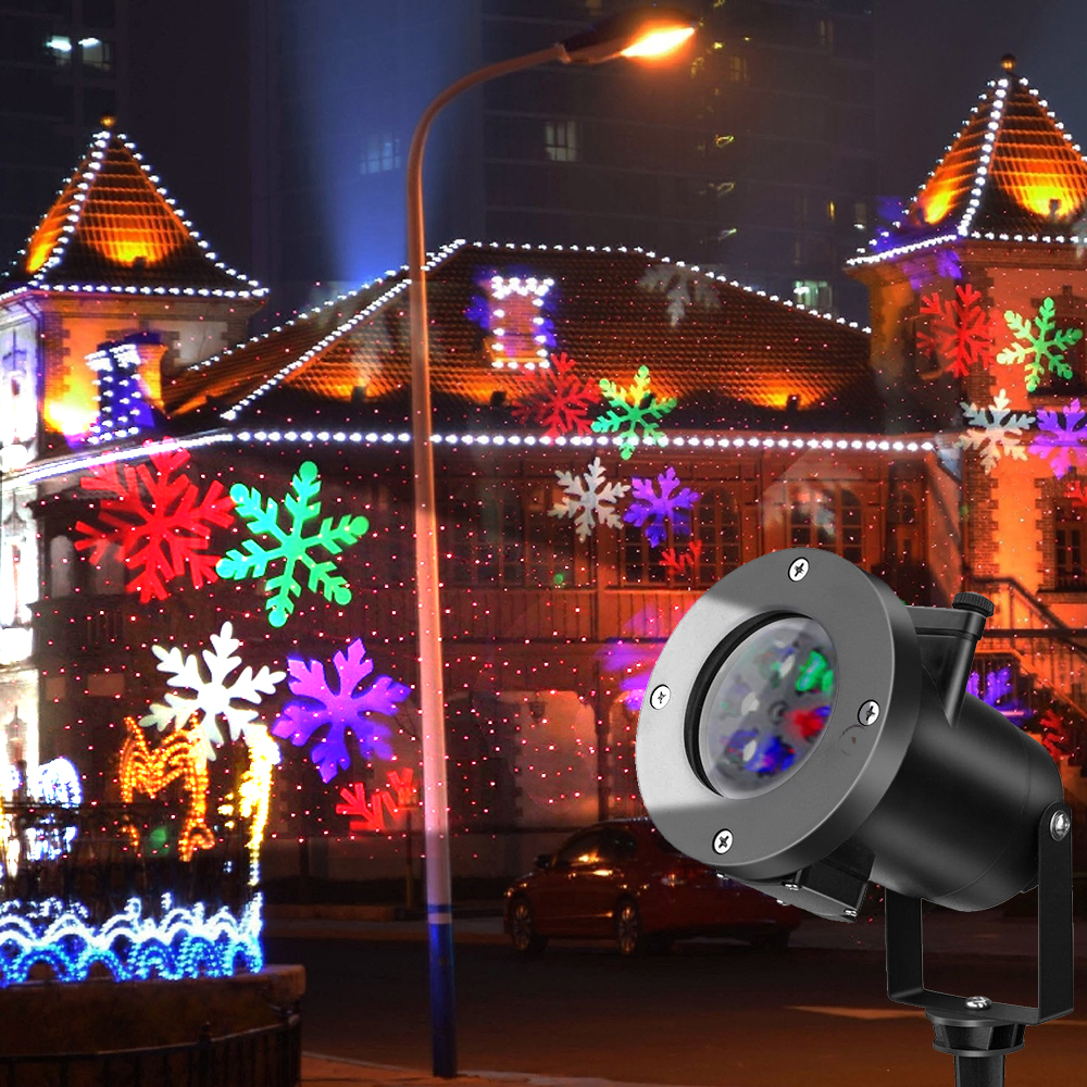Christmas Laser Lights Outdoor Projector Santa Claus Snowflake Christmas Holiday Garden Decoration Festival Glow Party Supply (1)