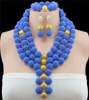 2016 Classic Nigeria Wedding african beads jewelry set Royal Blue Ball Bridal jewelry Sets Free shipping C0964