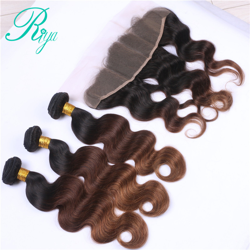 Riya Hair 1B 4 30 Ombre Body Wave Hair 3/4 Hair Weft Bundles With 13* 4 Lace Frontal Brazilian Human Remy Hair Extension