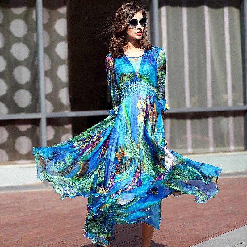 2019 femmes robes longue robe plissée grande taille imprimer Vintage élégant haute qualité 100% vraie soie pour femme été
