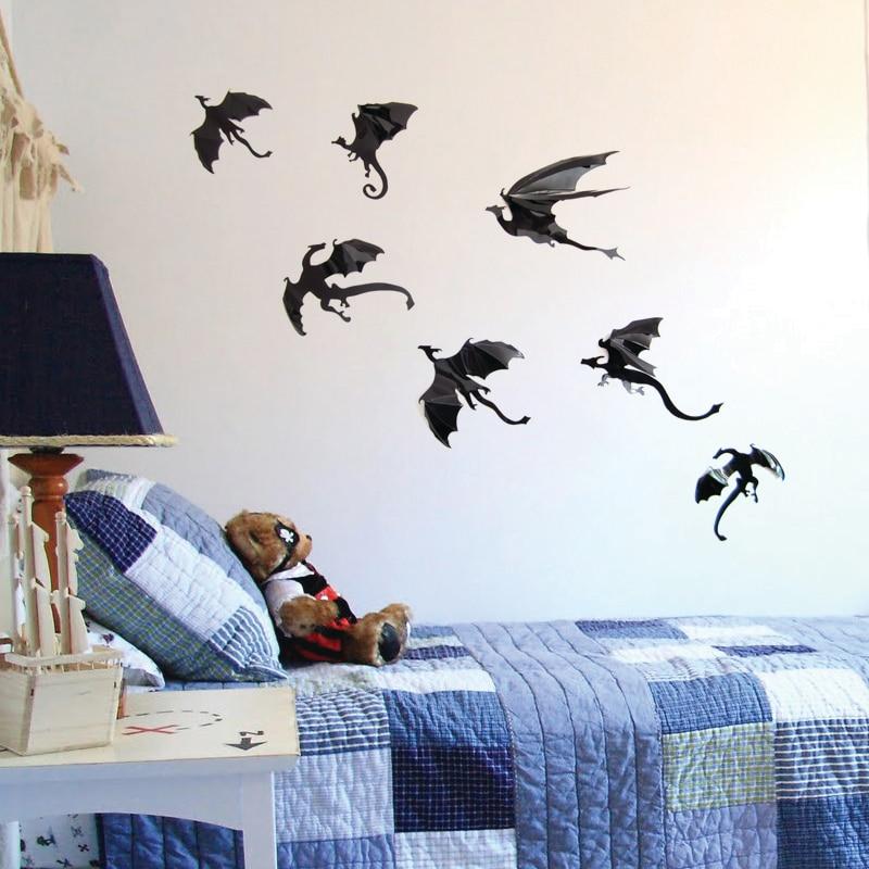 7pcs black dinospvc dinosaur 3d stereo dinosaur decorative wall stickers wall art design - Designer Wall Stickers