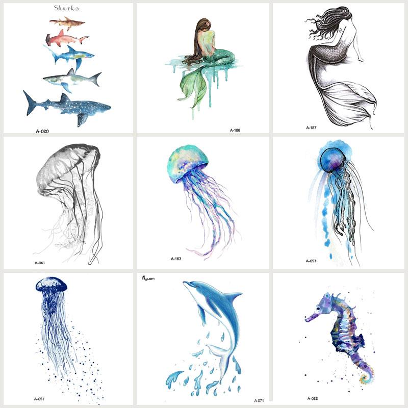 Wyuen 9 PCS / lot Neue Design Quallen Wasserdicht Temporäre Tätowierung Aufkleber für Frauen Tattoo Body Art Sea Tier Gefälschte Tätowierung JY-017
