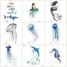 Wyuen 9 PCS/lot New Design Jellyfish Waterproof Temporary Tattoo Stickers for Women Tattoo Body Art Sea Animal Fake Tatoo JY-017