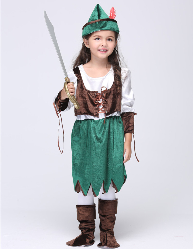 Halloween Pirates Costume For Children Robin Hood Cosplay Uniforms Kids Party Dress Pirates Performance Wear