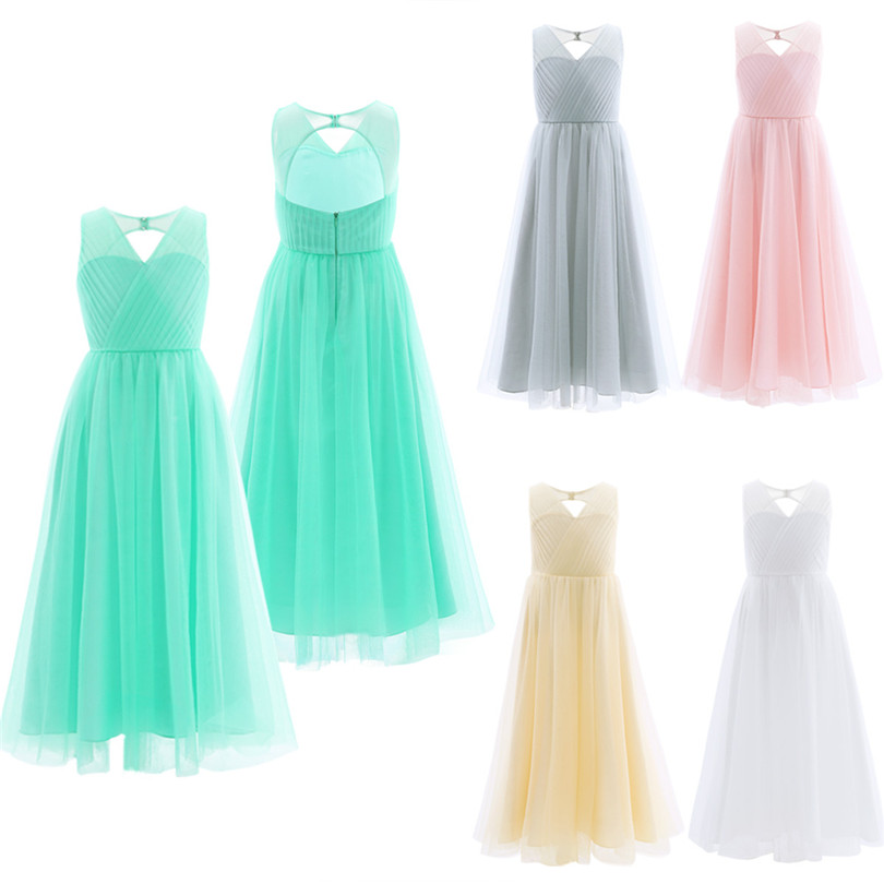 Image 2 - TiaoBug 2018 Girls Pleated Mesh Cutout Back Flower Girl Dress Floor Length Splice Shoulder Straps Sleeveless Wedding Party Dress-in Flower Girl Dresses from Weddings & Events