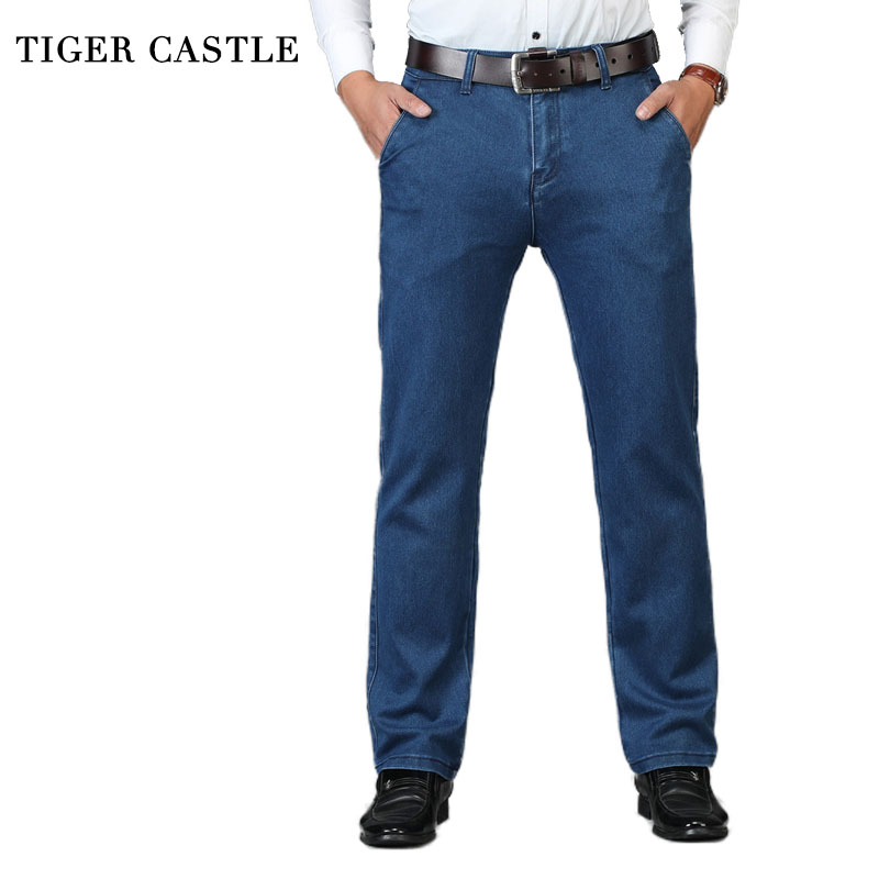 Spring Autumn High Waist   Jeans   Men Stretch Brand Male Baggy Denim Pants Classic Black Mens Quality Business   Jeans   Overalls