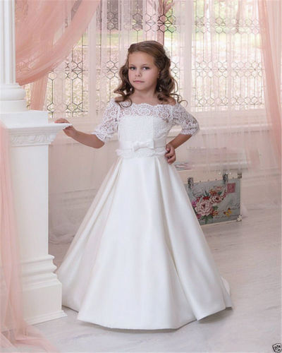 satin half sleeve   Flower     Girl     Dresses   for wedding lace Communion   dresses   Graduation Party   Dress   vestido daminha