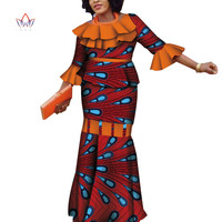 Plus Size 2019 Dashiki African Wax Print Skirt Sets Traditional Clothing For Women Bazin Riche Africa Two Piece Skirt Set 4179