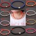 Envío gratis 3 unids Color de calidad superior de cuero de la PU del encanto de moda collar hechos a mano collar de Shamballa con cierre magnético collar del corchete