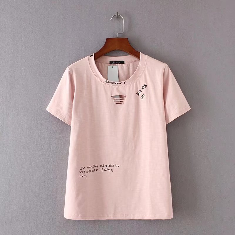 oversized Plus Size Cotton O-Neck Letter Print Hole T Shirts Women Short Sleeve Tshirt Casual Ladies t-shirts Summer Tops