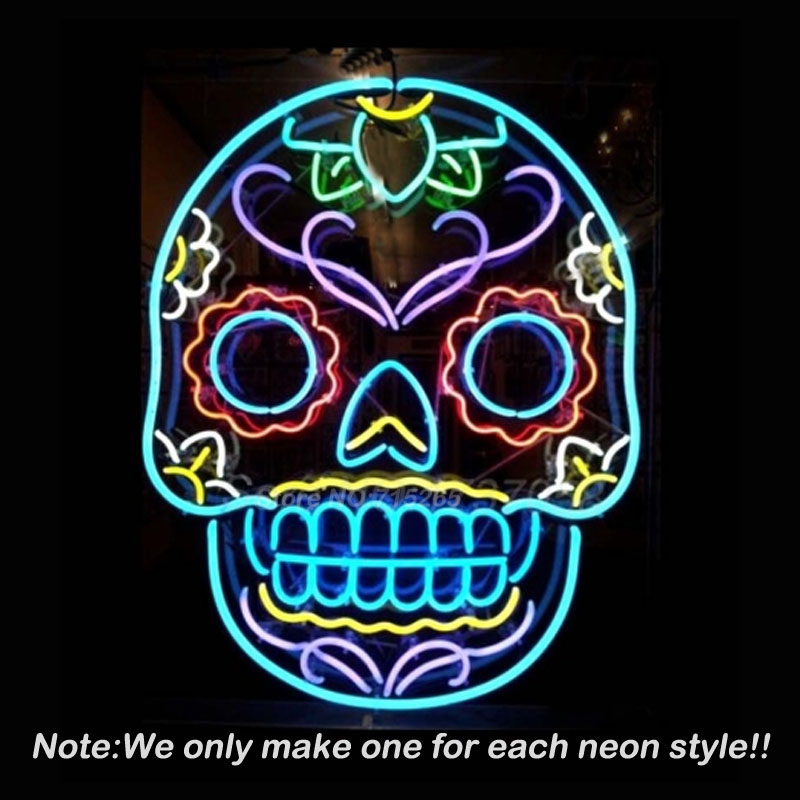 Tattoo Skull Neon Sign Skull Beer Pub Neon Bulbs Room Recreation Windows Neon Signs Real Glass Tube Handcraft Best Gifts VD24x20  wild at heart neon sign advertise custom logo neon bulb beer glass tube handcrafted neon glass tubes recreation room lamps 17x14