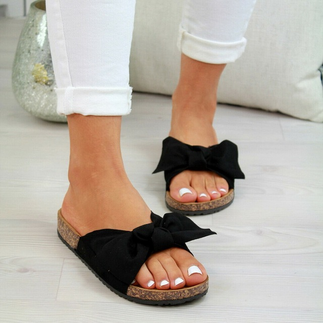 Summer New Womans Slip On Sliders Bow Flatform Mule Summer Sandals Comfy Shoes Plus Sizes Indoor Outdoor Flip-flops Beach Shoes