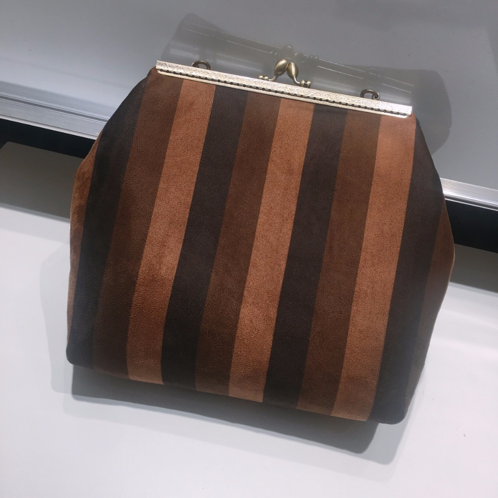 Casual Handmade Tote Vintage Denim Brown Striped Knot Wrist Bag Day Clutches Handbags For Women