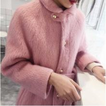 Winter Wool Coat For Women Warm With Belt Woolen Jacket  Cashmere Coats European Fashion Outerwear yuoomuoo new women wool coat autumn winter medium long female cashmere coat european style ladies warm casual grey woolen coats