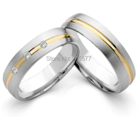 Germany style Gold Plating Inlay Titanium stainless steel engagement wedding band rings pair Titan Eheringe Trauringe