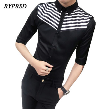 Classic Black White Patchwork Men Striped Shirt Summer Business Casual Work Korean Slim Fit Social Three Quarter Sleeve Shirt