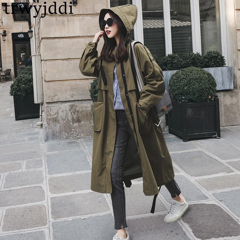 436f3ce95 Con 2019 Otoño Ejército Cazadora Armgreen Verde Exteriores De Moda Nueva  Trinchera Mujer N394 Vestir Capucha Larga Primavera Abrigo ...